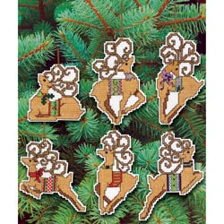 "JANLYNN Festive Reindeer Ornaments Counted Cross Stitch Kit-4"" 14 Count Set Of 6 at Sears.com"