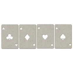 "Fabscraps Die-Cut Grey Chipboard Embellishments-Playing Cards 4/Pkg; 1.25""X1.75"" at Sears.com"