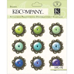 K&Company Indigo Garden Brads 9/Pkg-Metal & Epoxy W/Jewel Middles at Sears.com