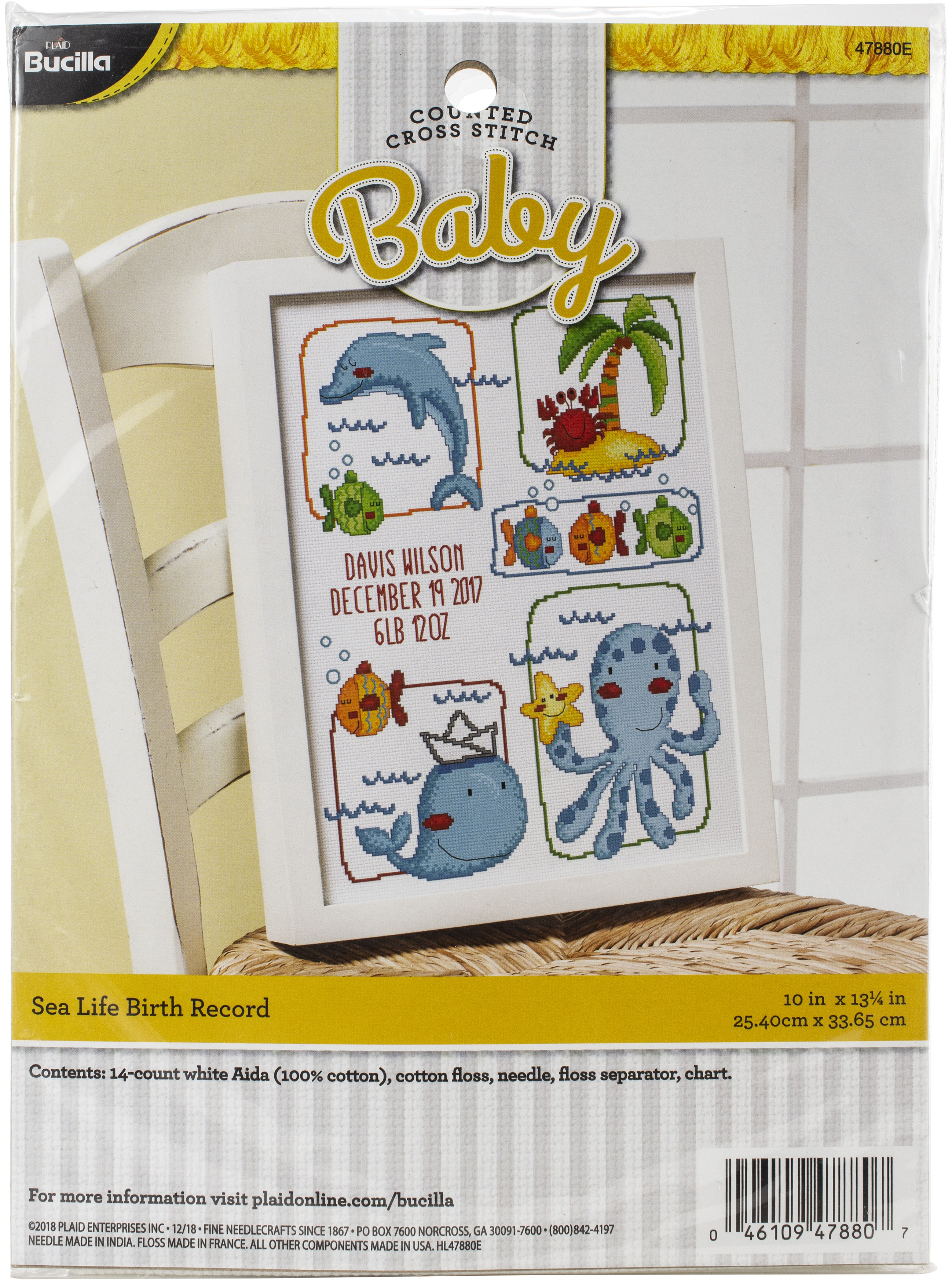 "Bucilla Counted Cross Stitch Kit 10.5""X13.5""-Sea Life Birth"