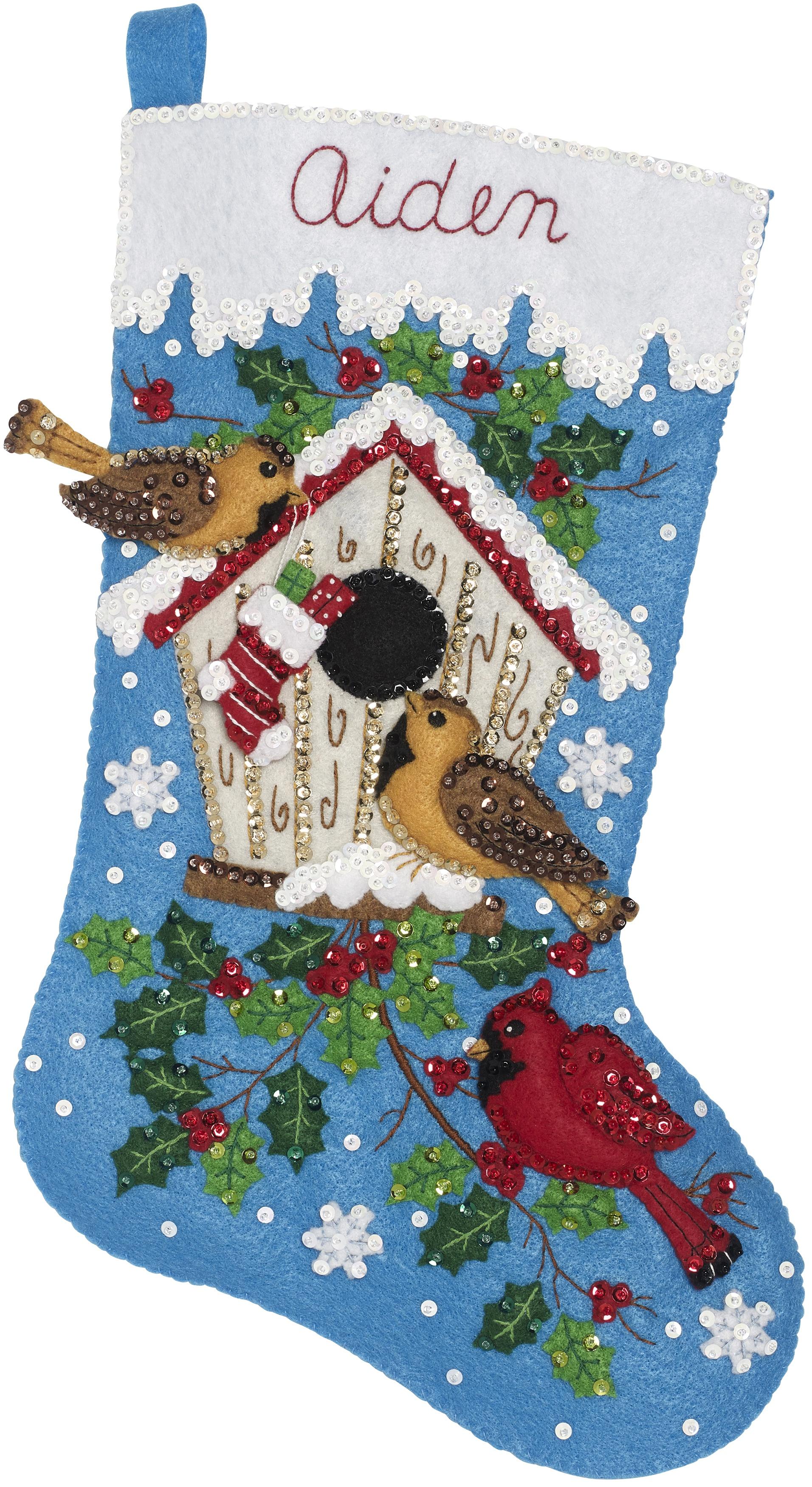 "Bucilla Felt Stocking Applique Kit 18/"" Long-Christmas Birds"