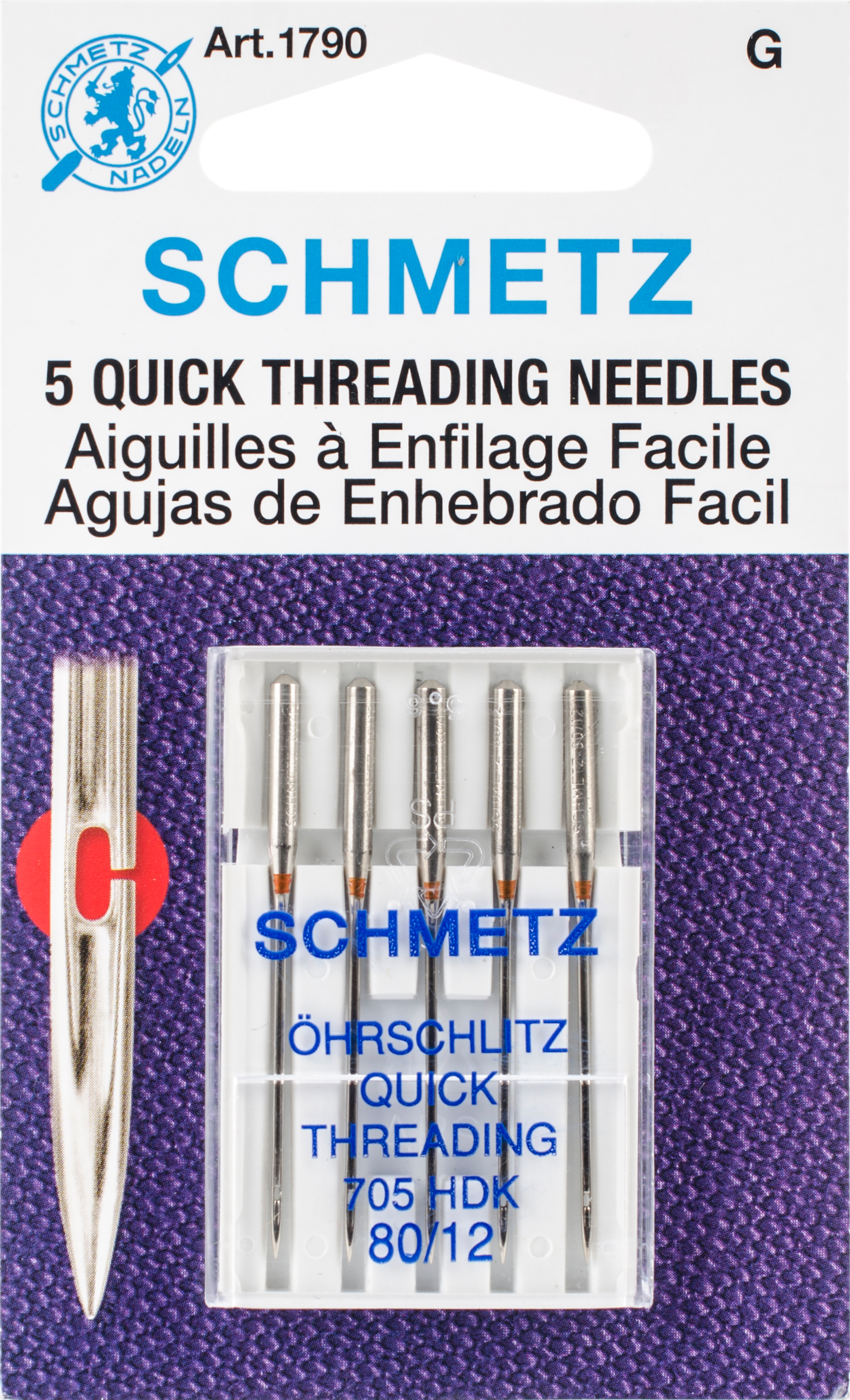 Quick Self Threading Machine Needles-Size 12/80 5/Pkg