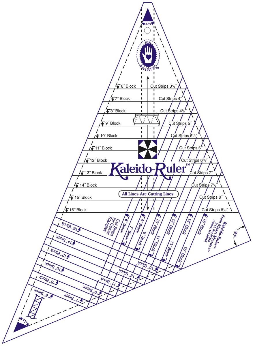 """Marti Michell Large Kaleido-Ruler-6/"""" To 16/"""" Blocks 8642M"""