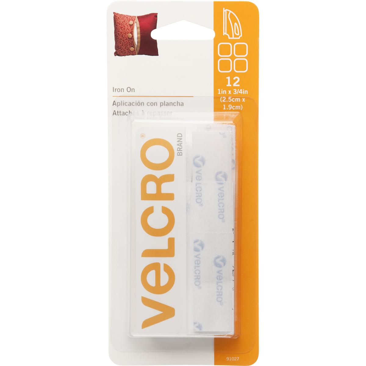 "R 91027 VELCRO Brand Iron-On Rectangles 3//4/""X1/"" 12//Pkg-White"
