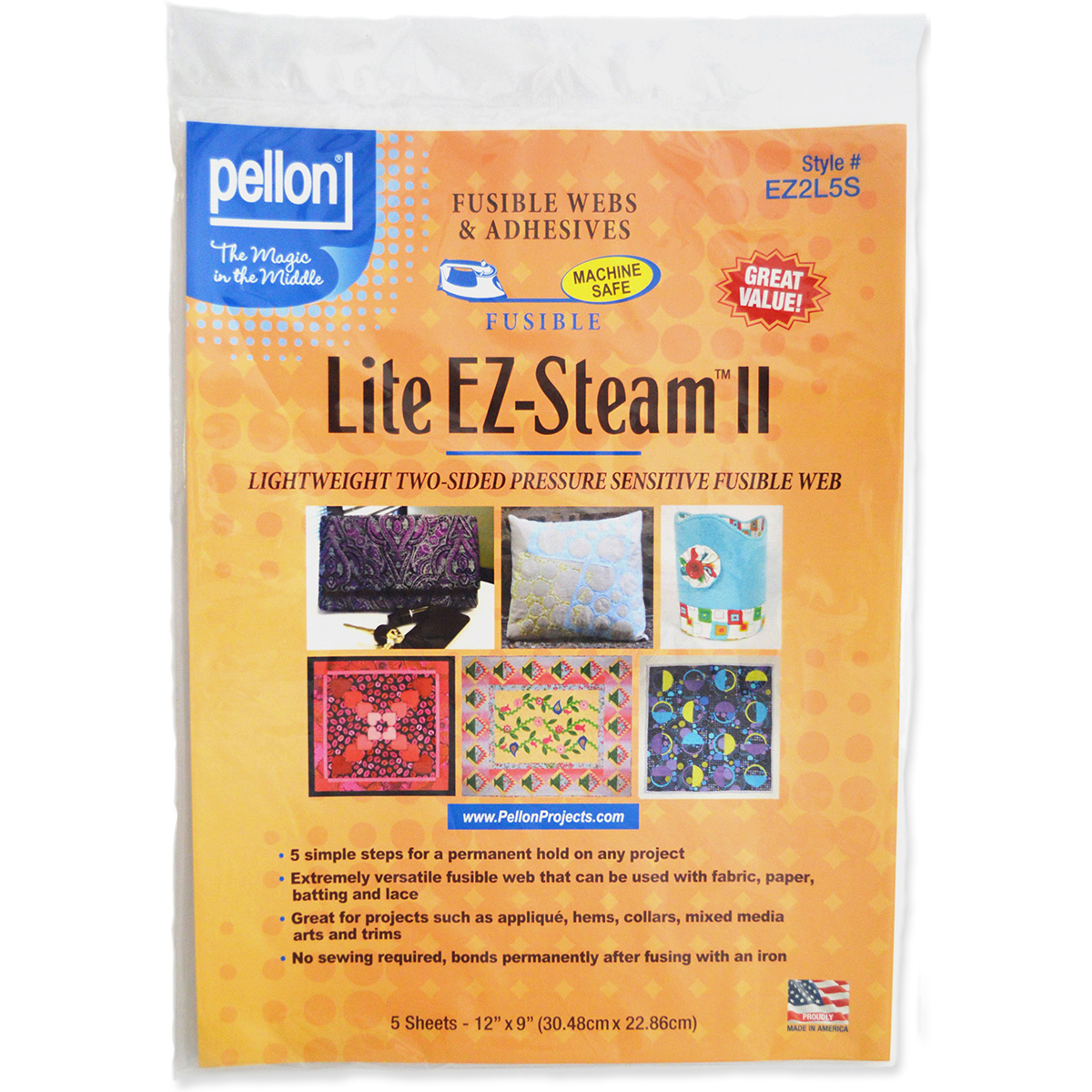 "1//4/"" x 40yd pkg Pellon Lite EZ-Steam 2-2-Sided Fusible Tape"