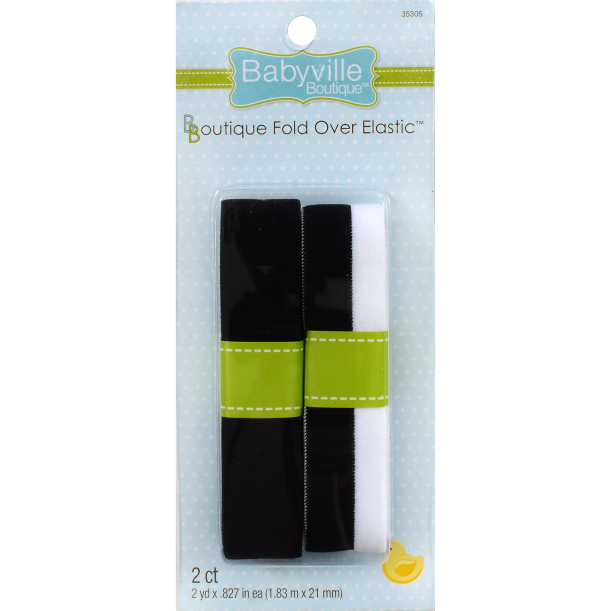 "Babyville Boutique Fold-Over Elastic 1/""-Black /& 2-Tone 350E-05"