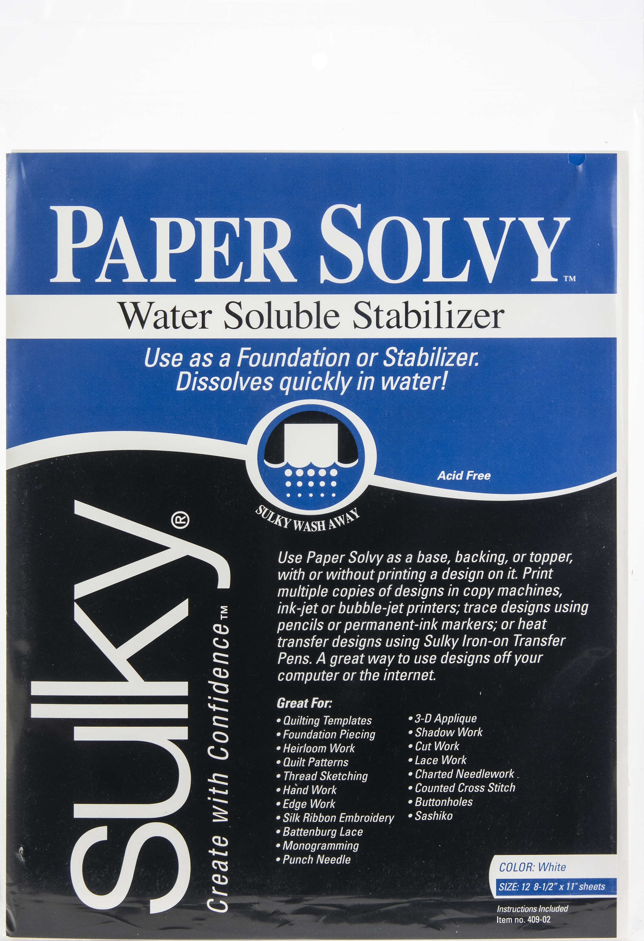 "Set Of 2/"" /""Paper Solvy Water-Soluble Stabilizer-8.5/""/""X11/""/"" 12//Pkg"