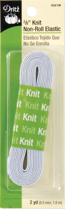 "Dritz Non-Roll Knit Elastic 3//8/""X2yd-White 9321-W"