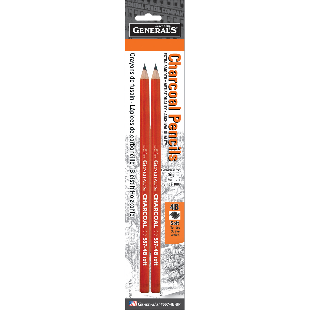 Set of Two Charcoal Pencils