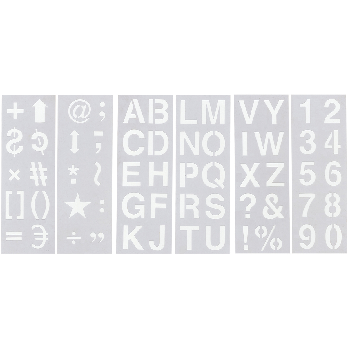 "Stencil Sheet Set 13""X4.5"" 6/Pkg-Alphabet, Numbers & Symbols 2"", PA712"