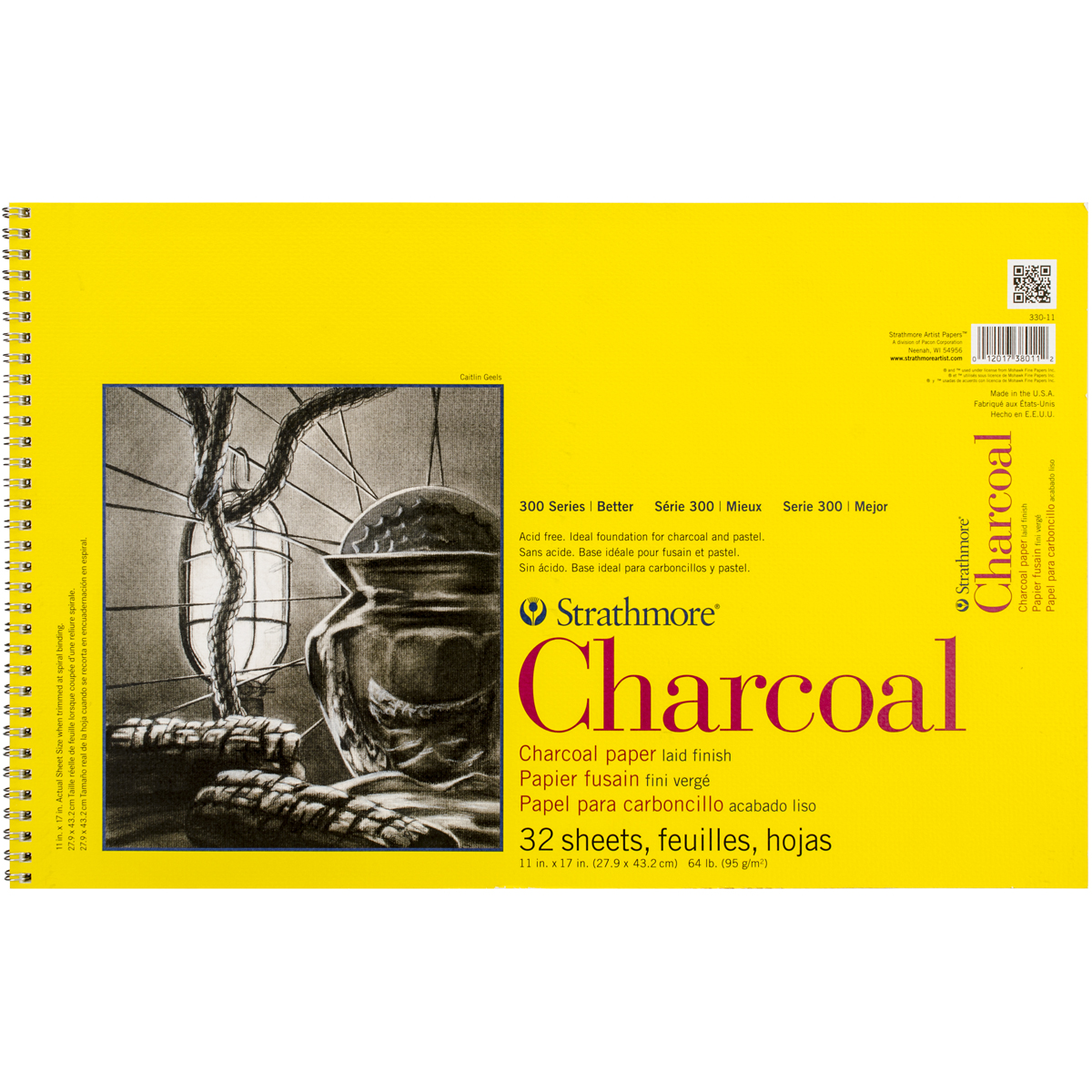 """Strathmore Charcoal Spiral Paper Pad 11""""X17""""-32 Sheets, 3301"""