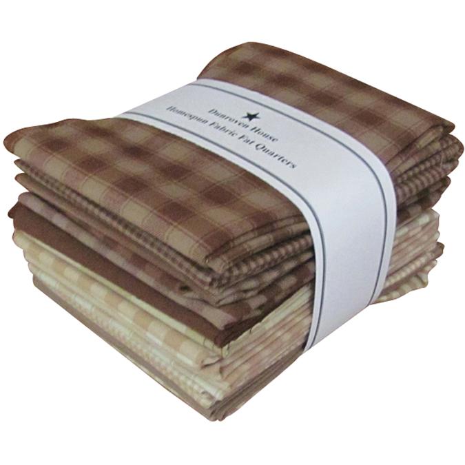 "Dunroven Homespun 18/""X21/"" Fat Quarters 12pcs-Brown /& Natural"