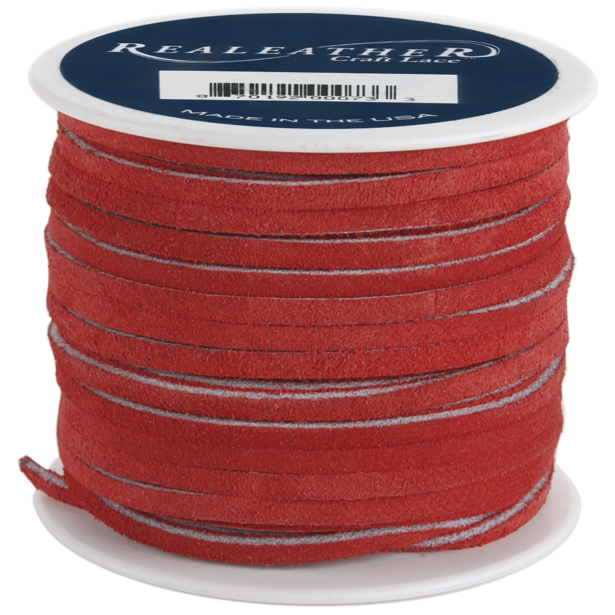 """Realeather Crafts Suede Lace .125/""""X25yd Spool-Red"""