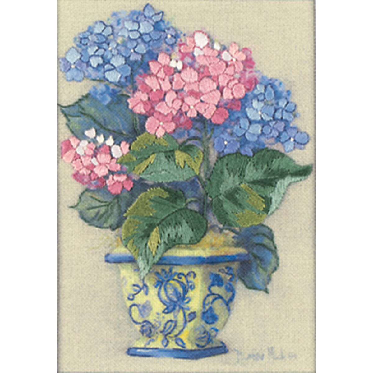 Jiffy Colorful Hydrangea Mini Crewel Kit-5X7 Stitched In Thr