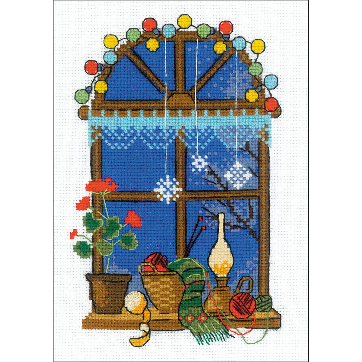 "RIOLIS Counted Cross Stitch Kit 6""X8.25""-Winter Window , R15"