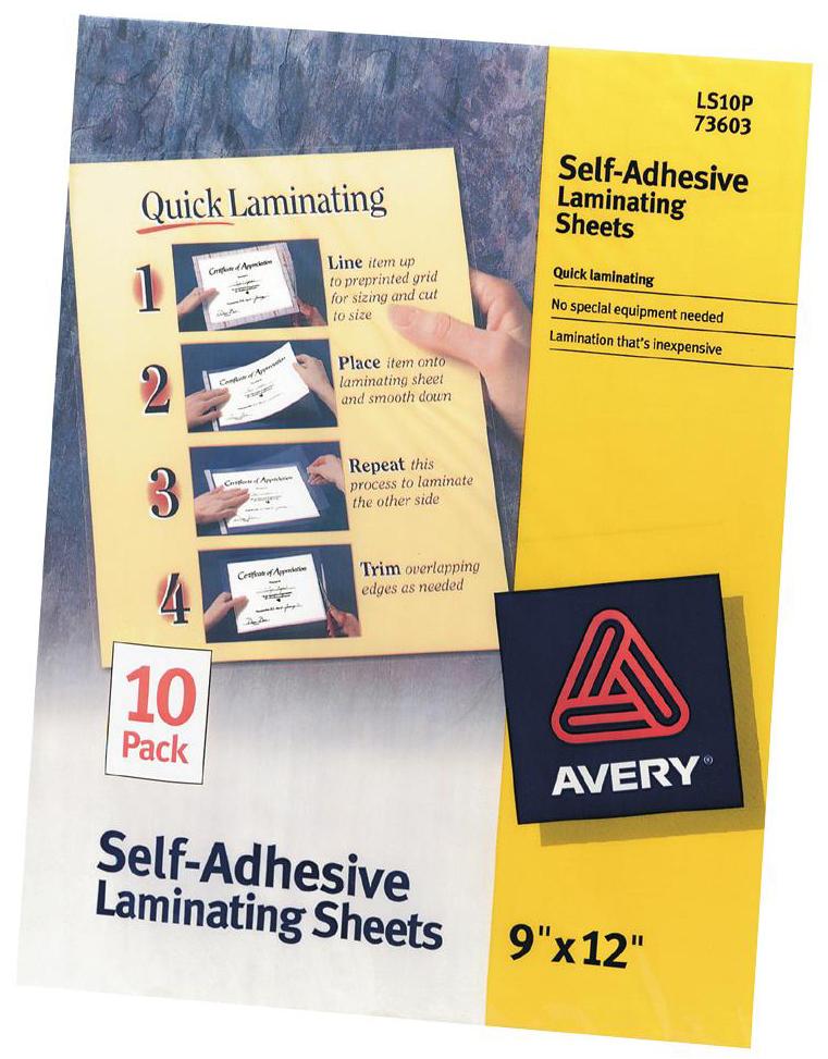 """Avery Self-Adhesive Laminating Sheets 9/""""X12/"""" 10//Pkg- 73603"""