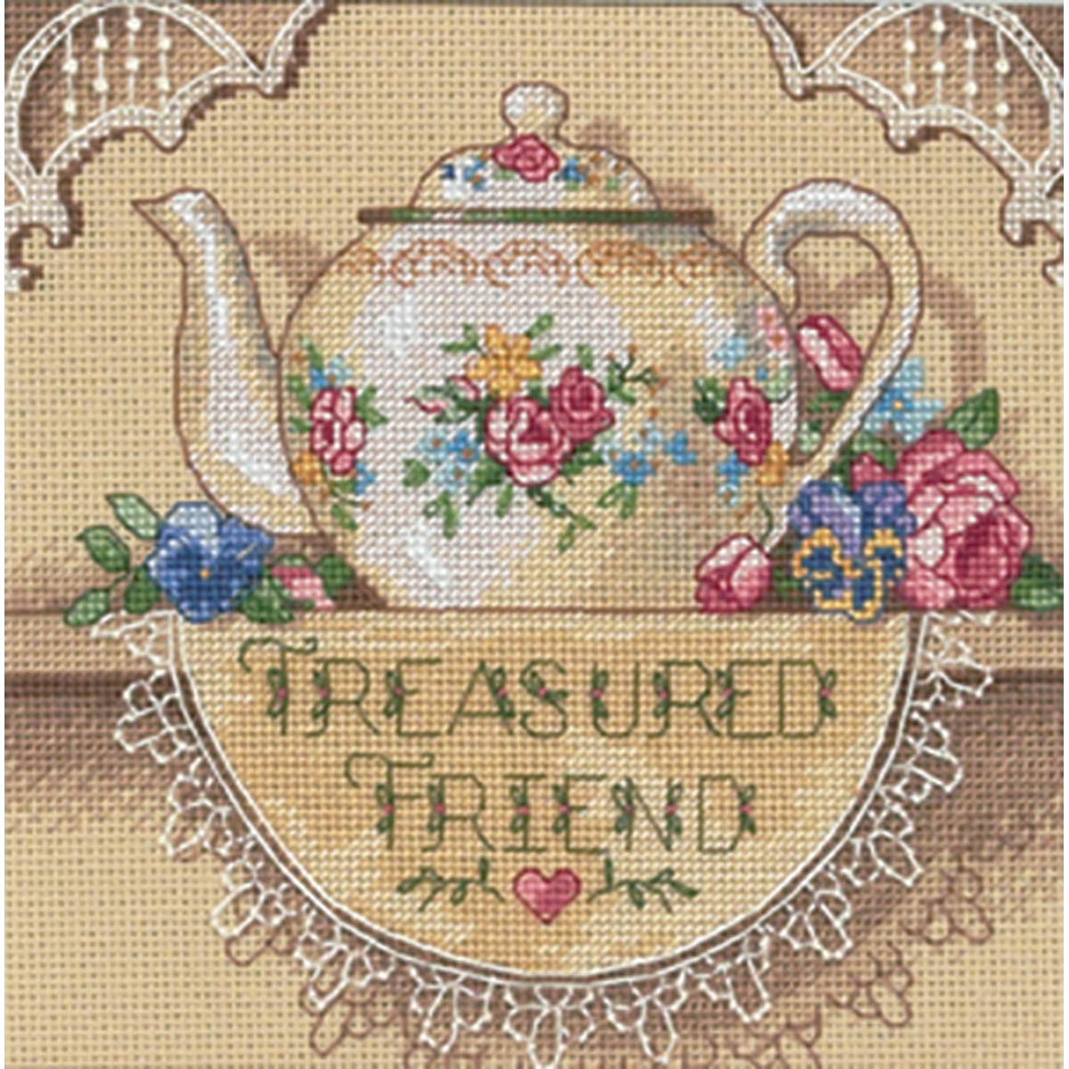 """/""""Gold Petite Treasured Friend Teapot Counted Cross Stitch Kit-6/""""/""""X6/""""/"""" 18 Count/"""""""
