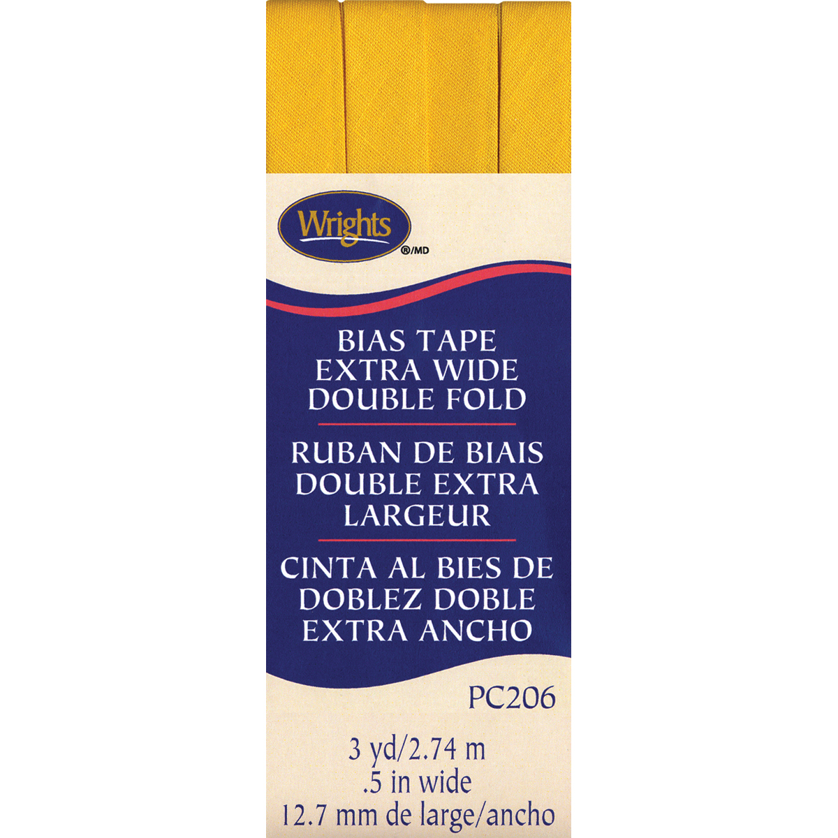 """Wrights Double Fold Bias Tape .5/""""x3yd-yellow"""