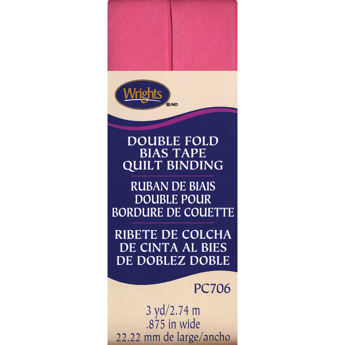 """Wrights Double Fold Quilt Binding .875""""X3yd-Candy Pink"""
