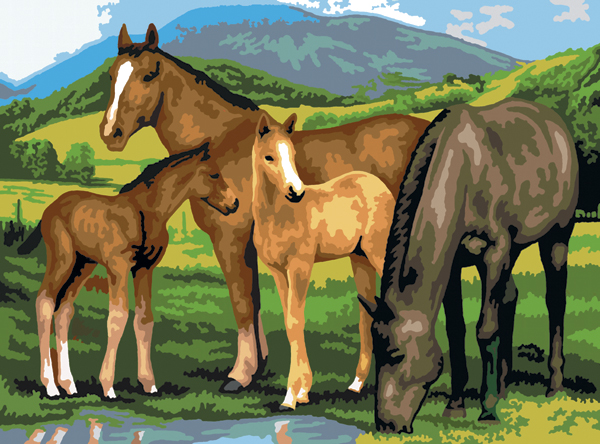 "Junior Large Paint By Number Kit 15.25""X11.25"" Horse & Foals PJL13"