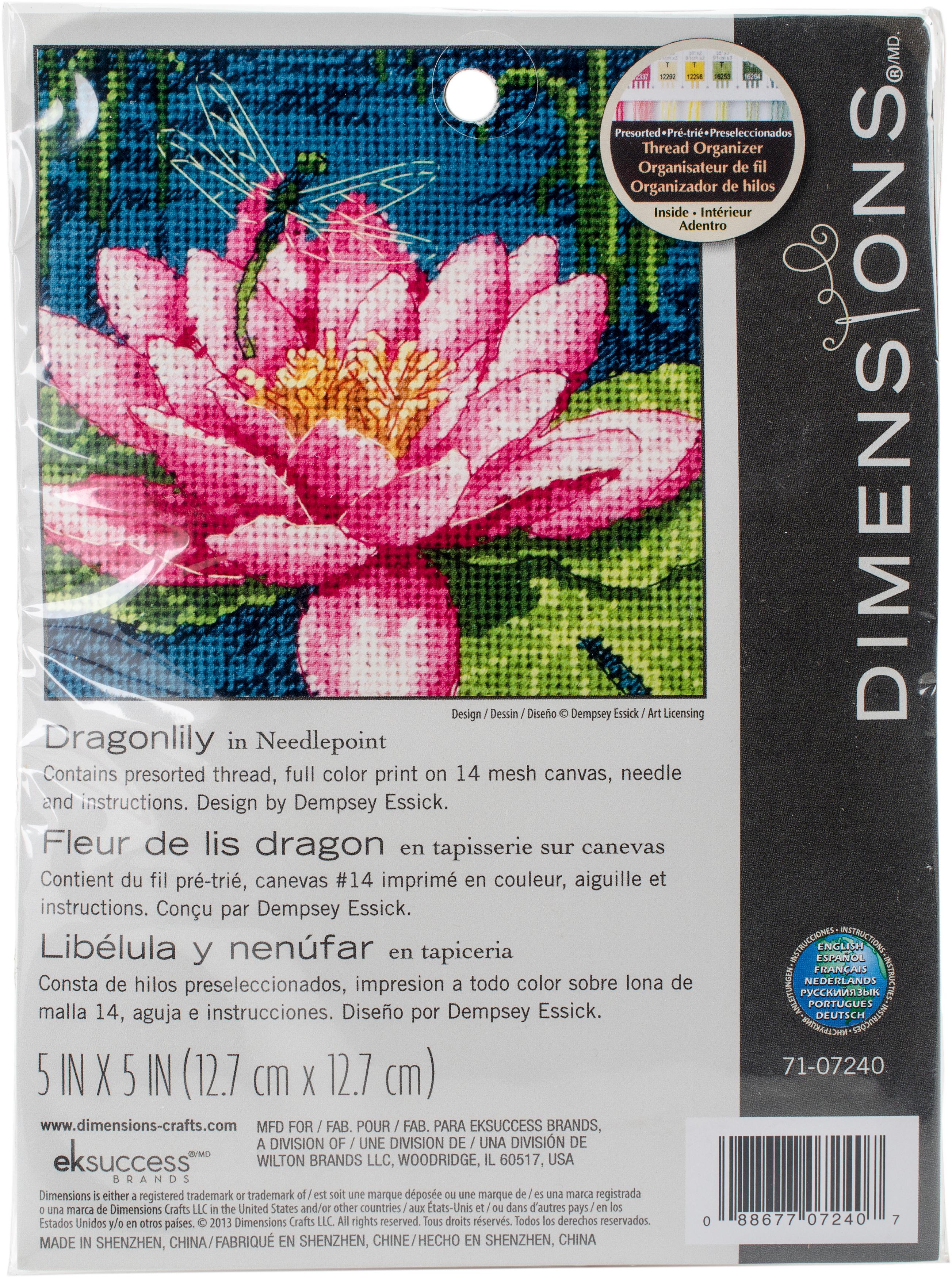 5 x 5 Dragon lily Dimensions Needlepoint Kit