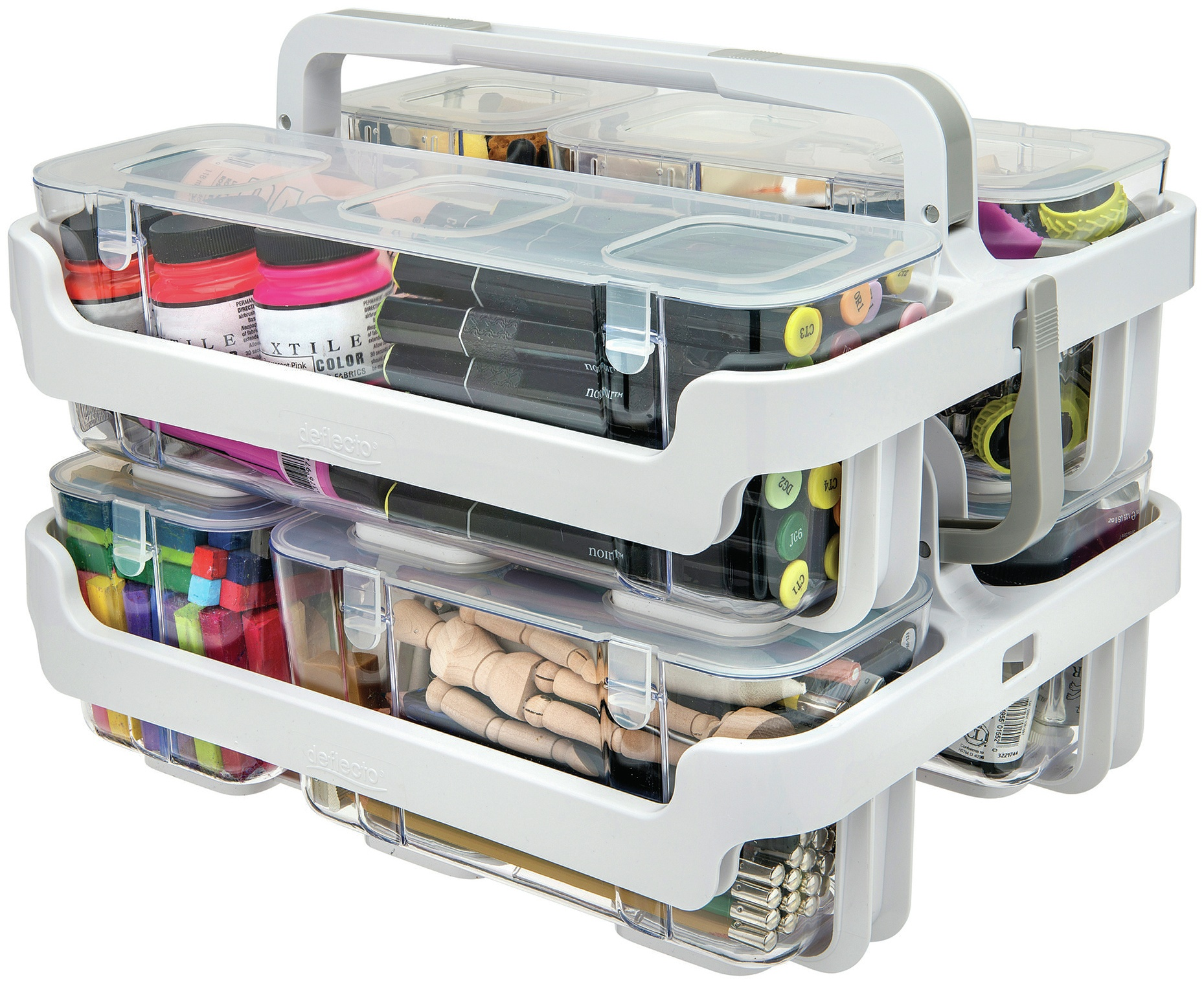 Deflecto Caddy Organizer White and Clear 29003CR Stackable with Three Compartments 4 Pieces