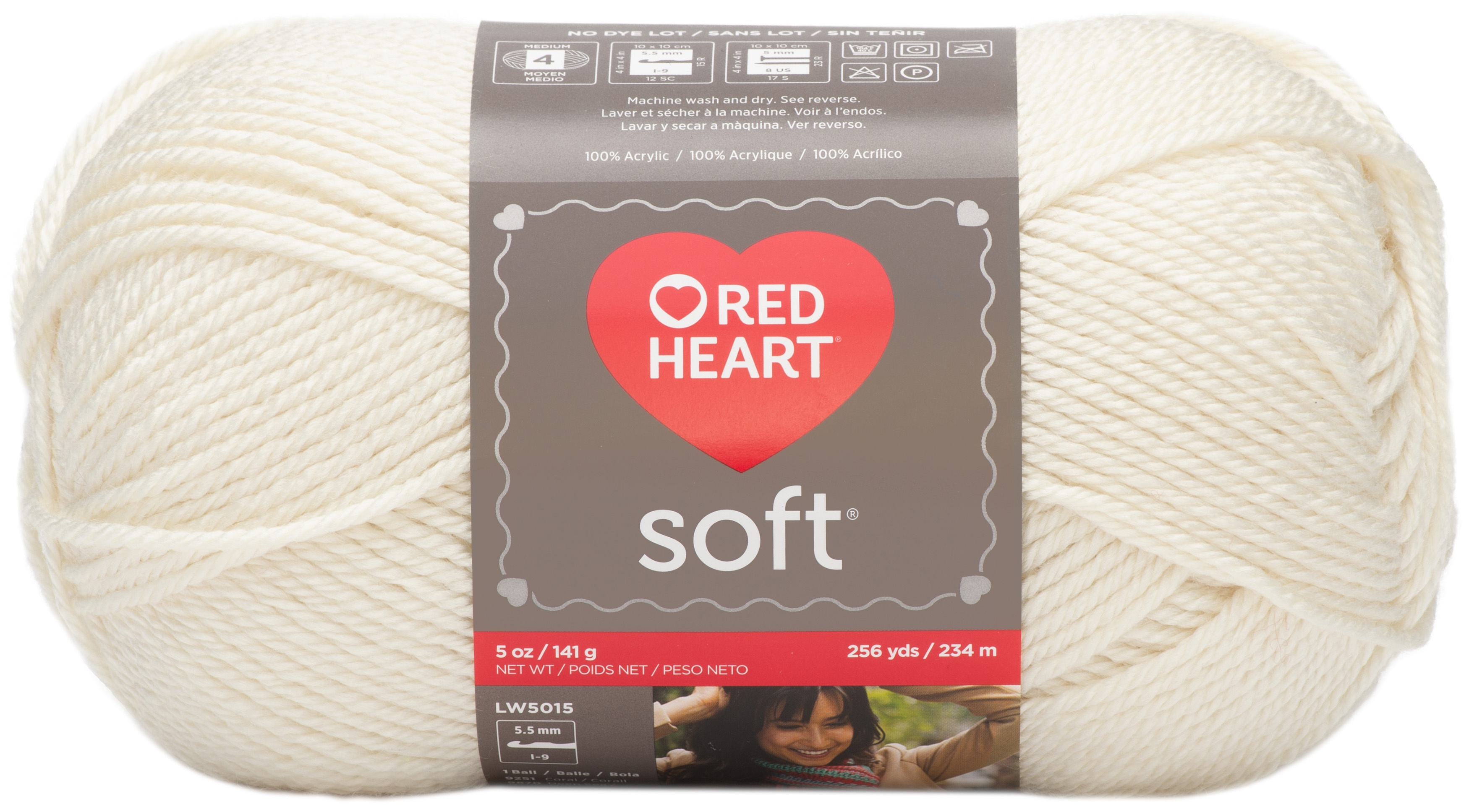"""/""""Red Heart Soft Yarn-Off White Set Of 3/"""""""