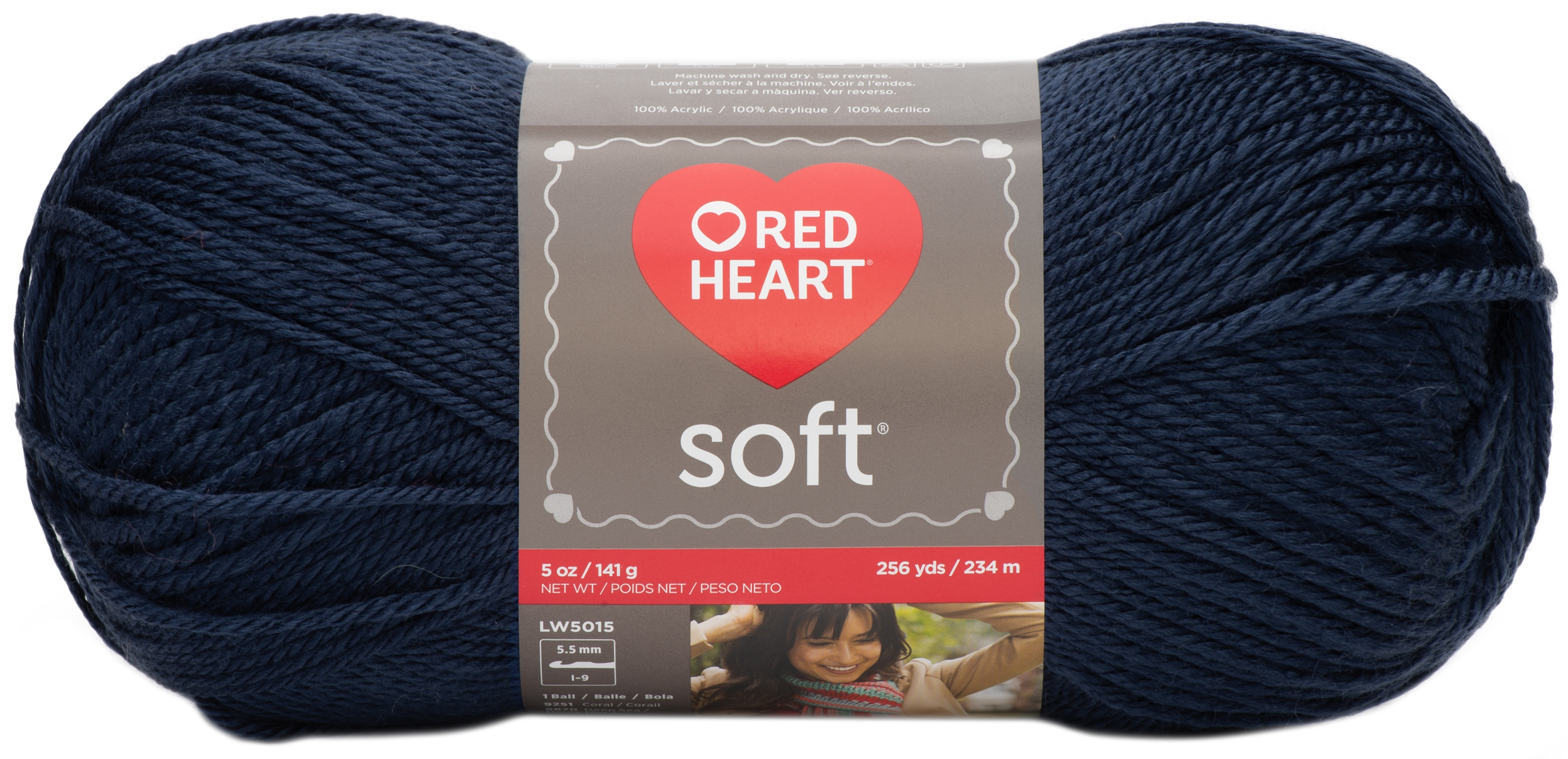"Set Of 3/"" /""Red Heart Soft Yarn-Navy"