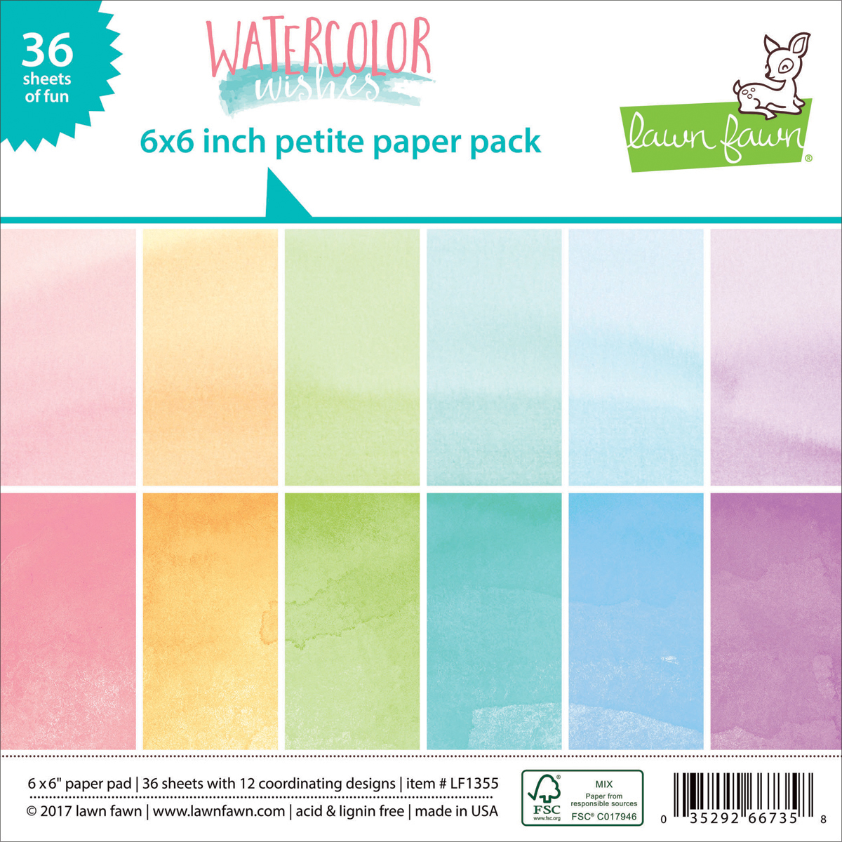 "12 Desi Lawn Fawn Single-Sided Petite Paper Pack 6/""X6/"" 36//Pkg-Watercolor Wishes"