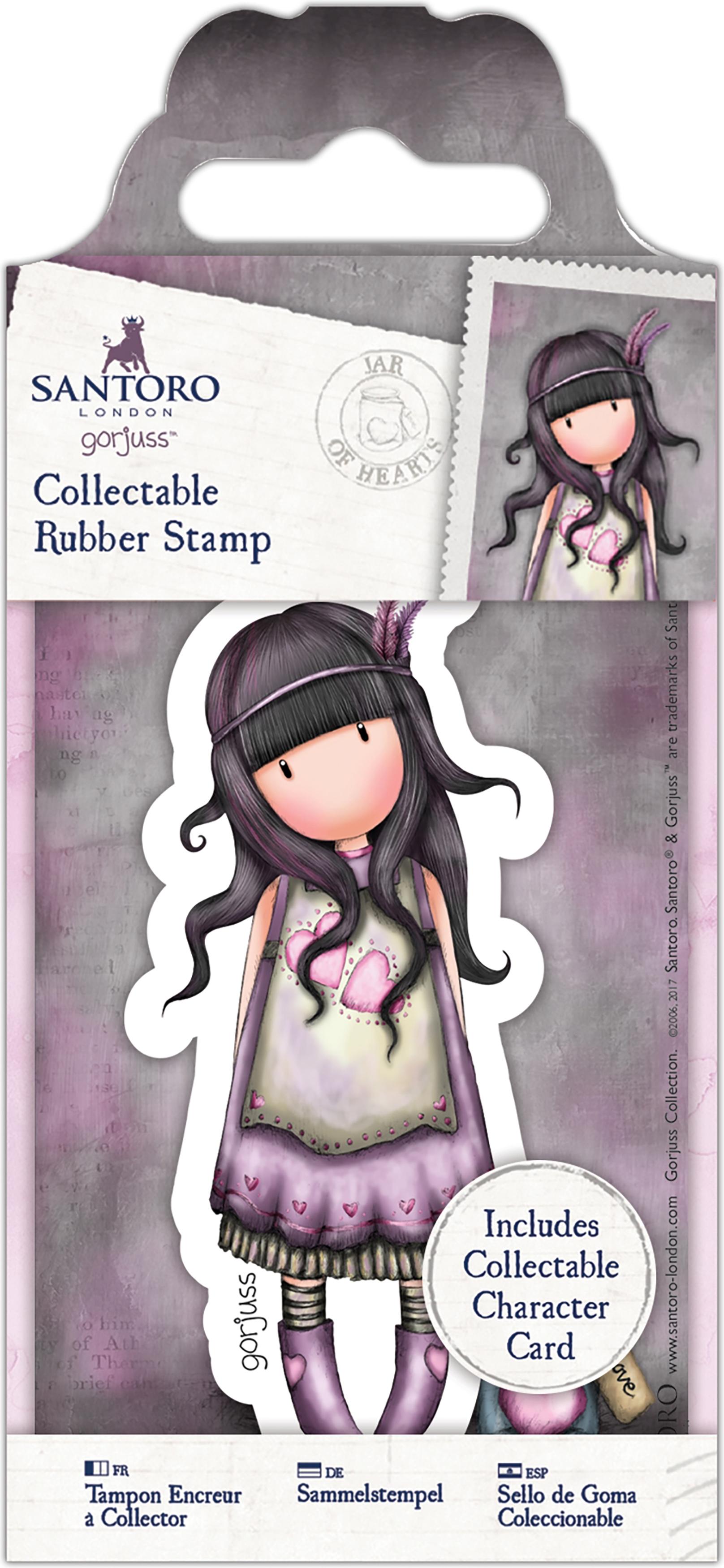 Santoro's Gorjuss Rubber Stamp-No. 50 Jar Of Hearts, GO90714