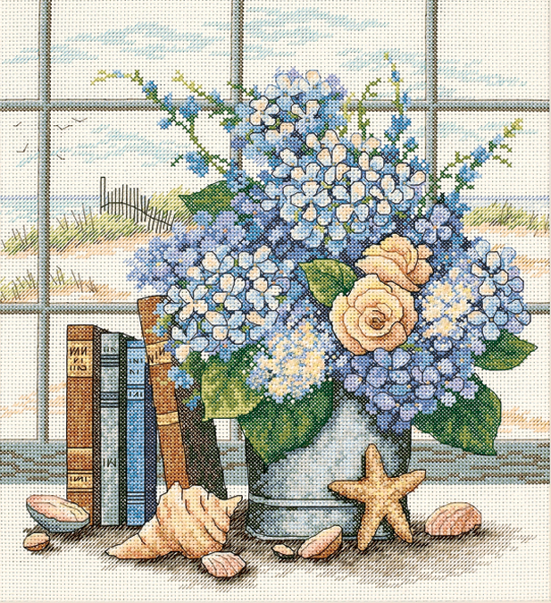 Hydrangeas And Shells Counted Cross Stitch Kit-11X12