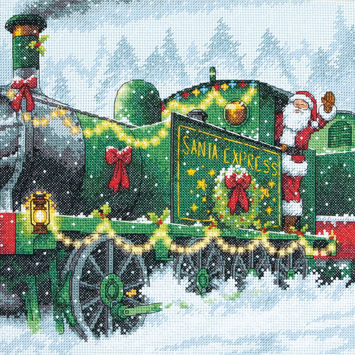 "Dimensions Counted Cross Stitch Kit 10/""X10/""-Santa Express 14 Count 70-08918"