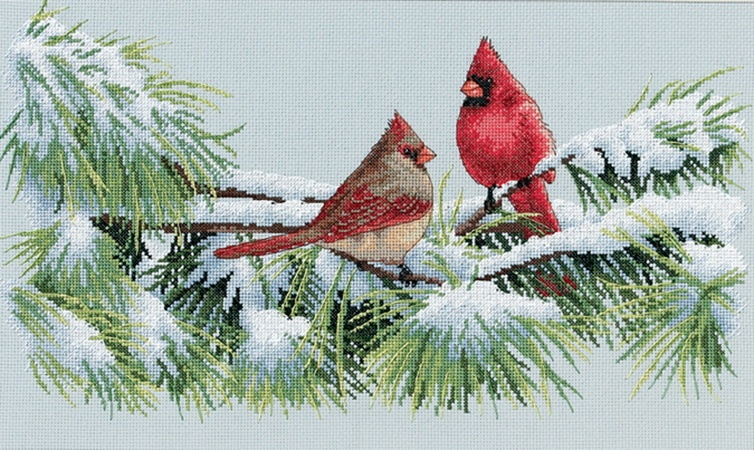 Dimensions Winter Cardinals Counted Cross Stitch Kit 15 x 9