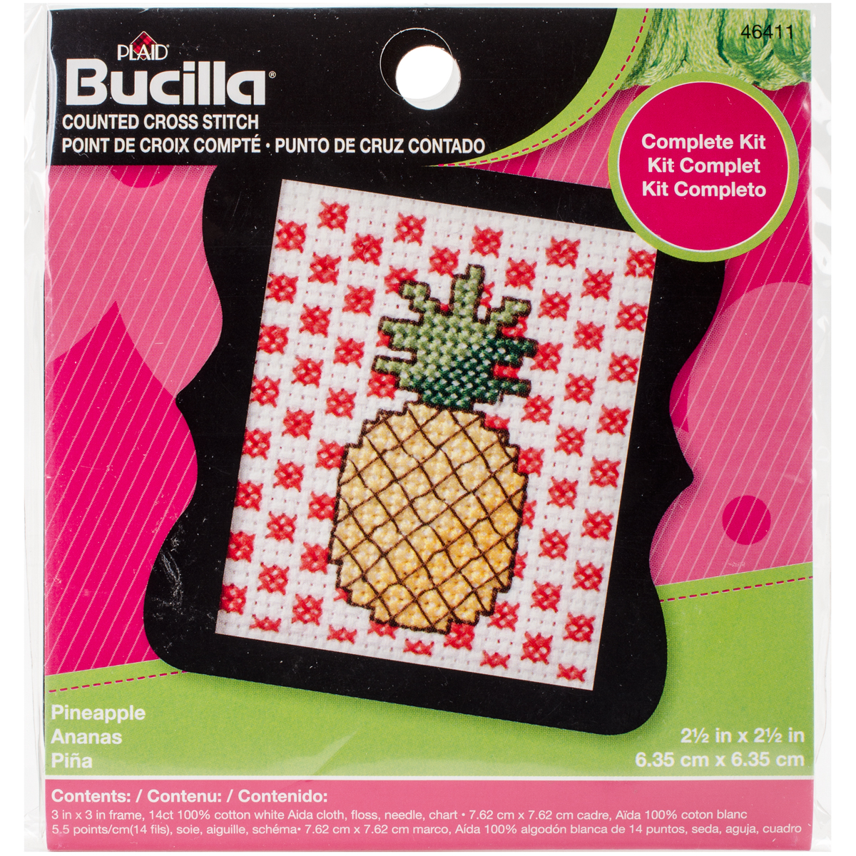 """Bucilla//Beginner Minis Counted Cross Stitch Kit 3/""""X3/""""-Pineapple 14 Count"""