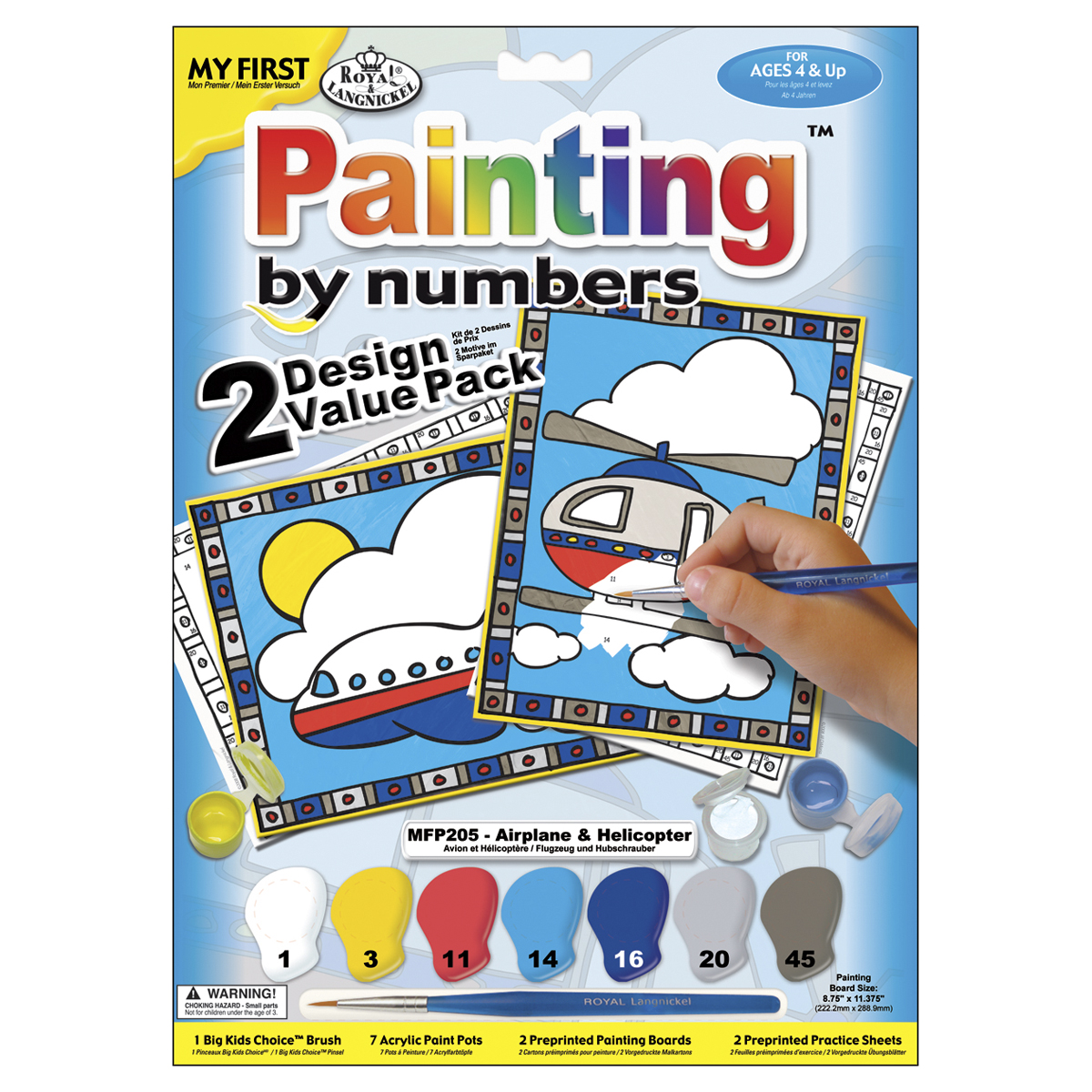 Royal Brush My First Paint By Number Kit 2-Pack-Airplane and Helicopter