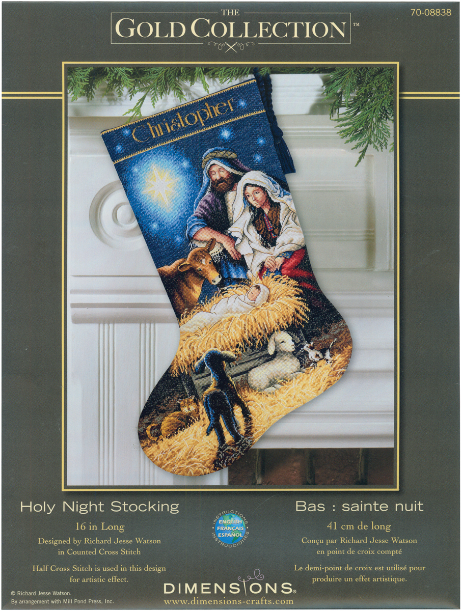 034-Gold-Collection-Holy-Night-Stocking-Counted-Cross-Stitch-Kit-16-034-034-Long-18-Count