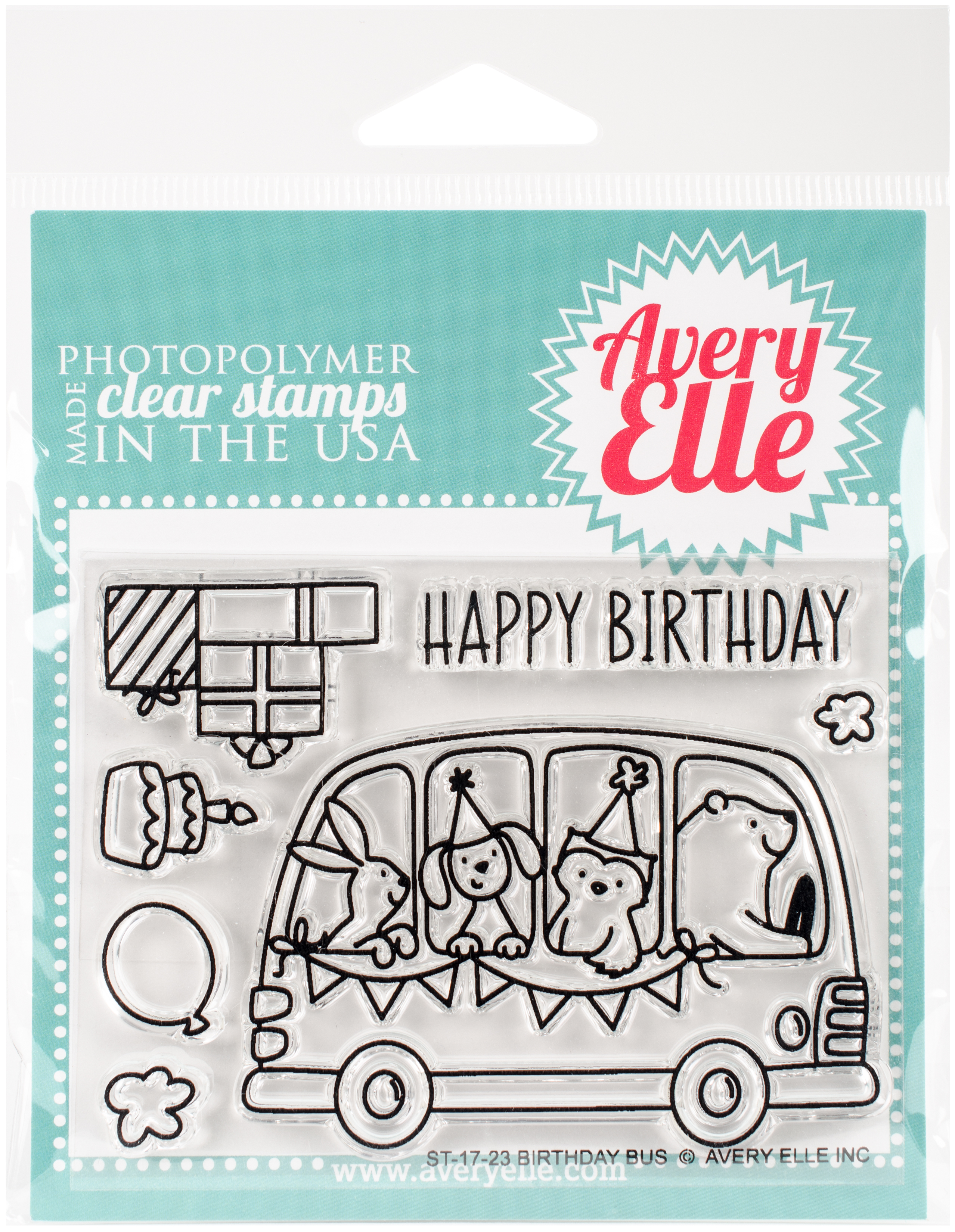 Avery Elle Clear Stamp Birthday Bus AE1723