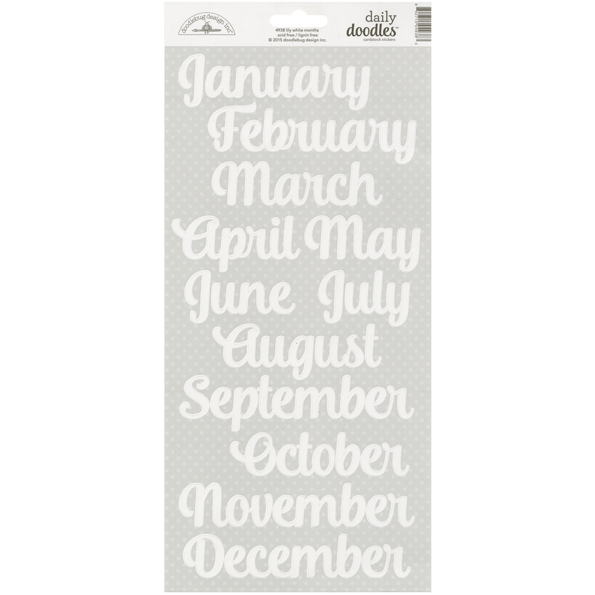 Doodlebug-Daily-Doodles-Cardstock-Stickers-6-034-X13-034-Lily-White-Months-DAI4938
