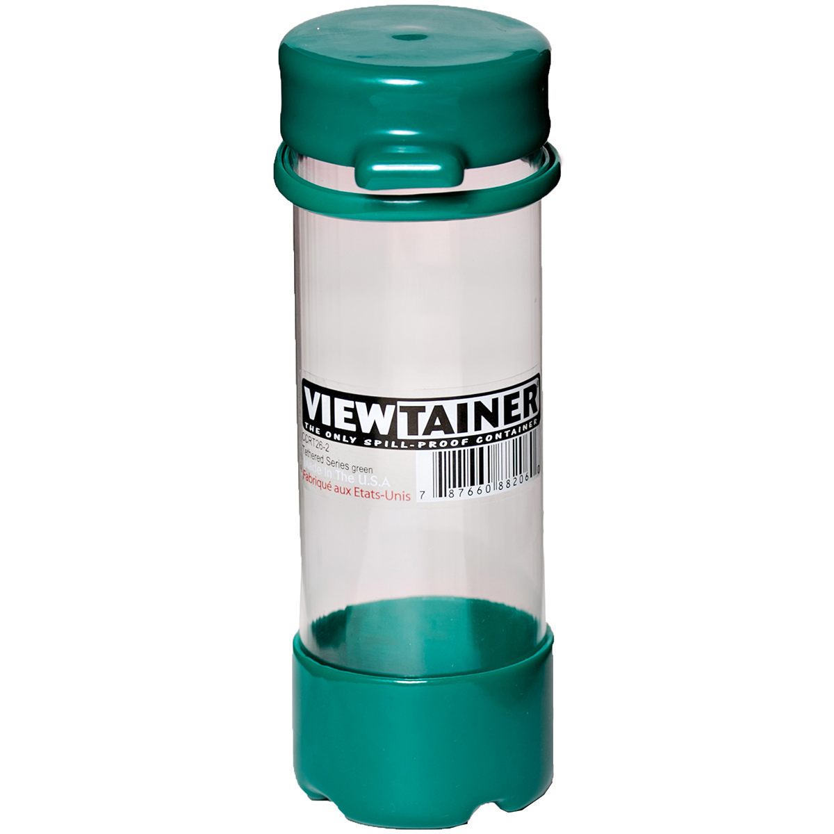 """CCRT26-2 Viewtainer Tethered Cap Storage Container 2/""""X6/""""-Green"""