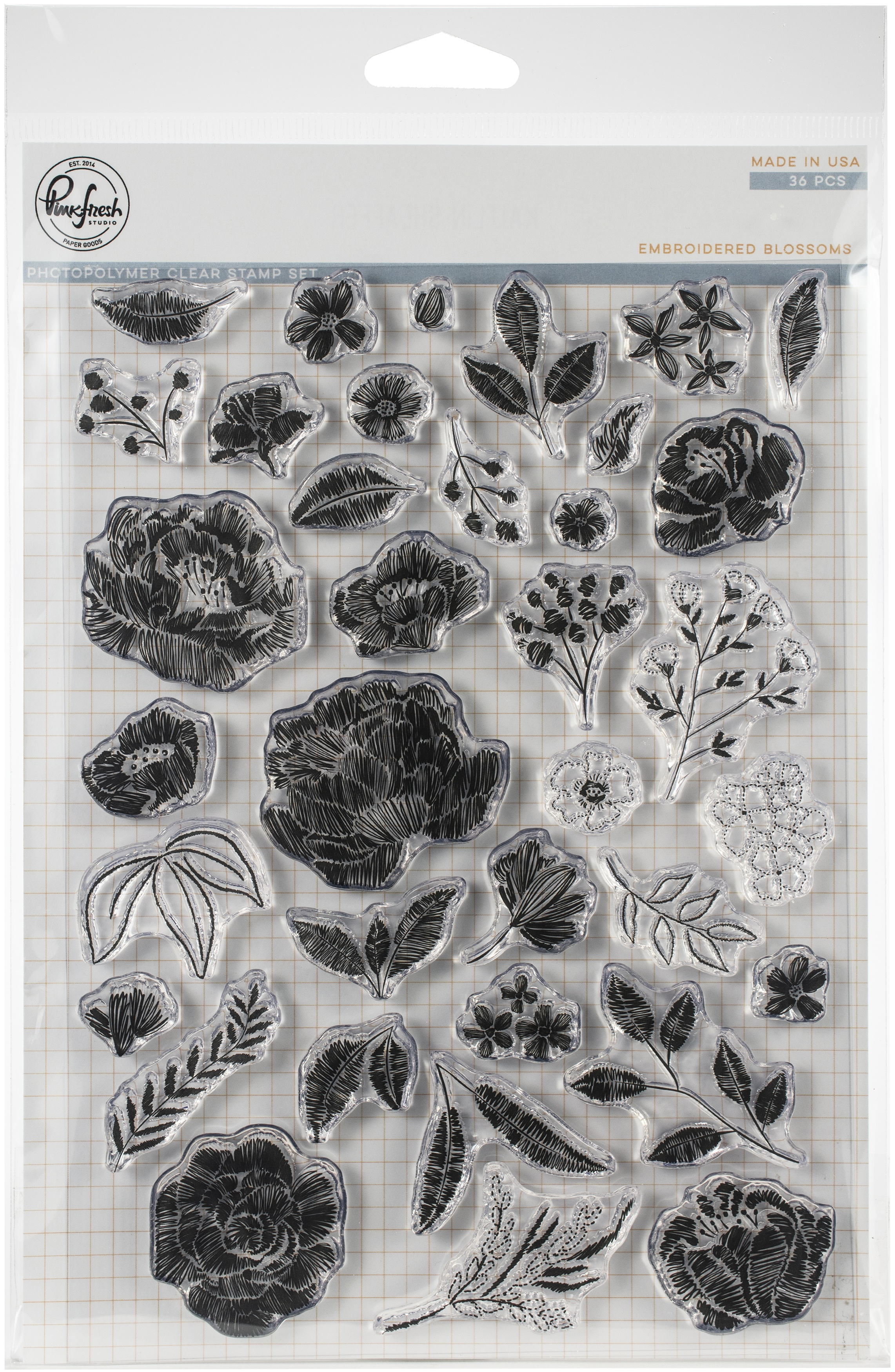 """Pinkfresh Studio Clear Stamp Set 6/""""X8/""""-Embroidered Blossoms"""