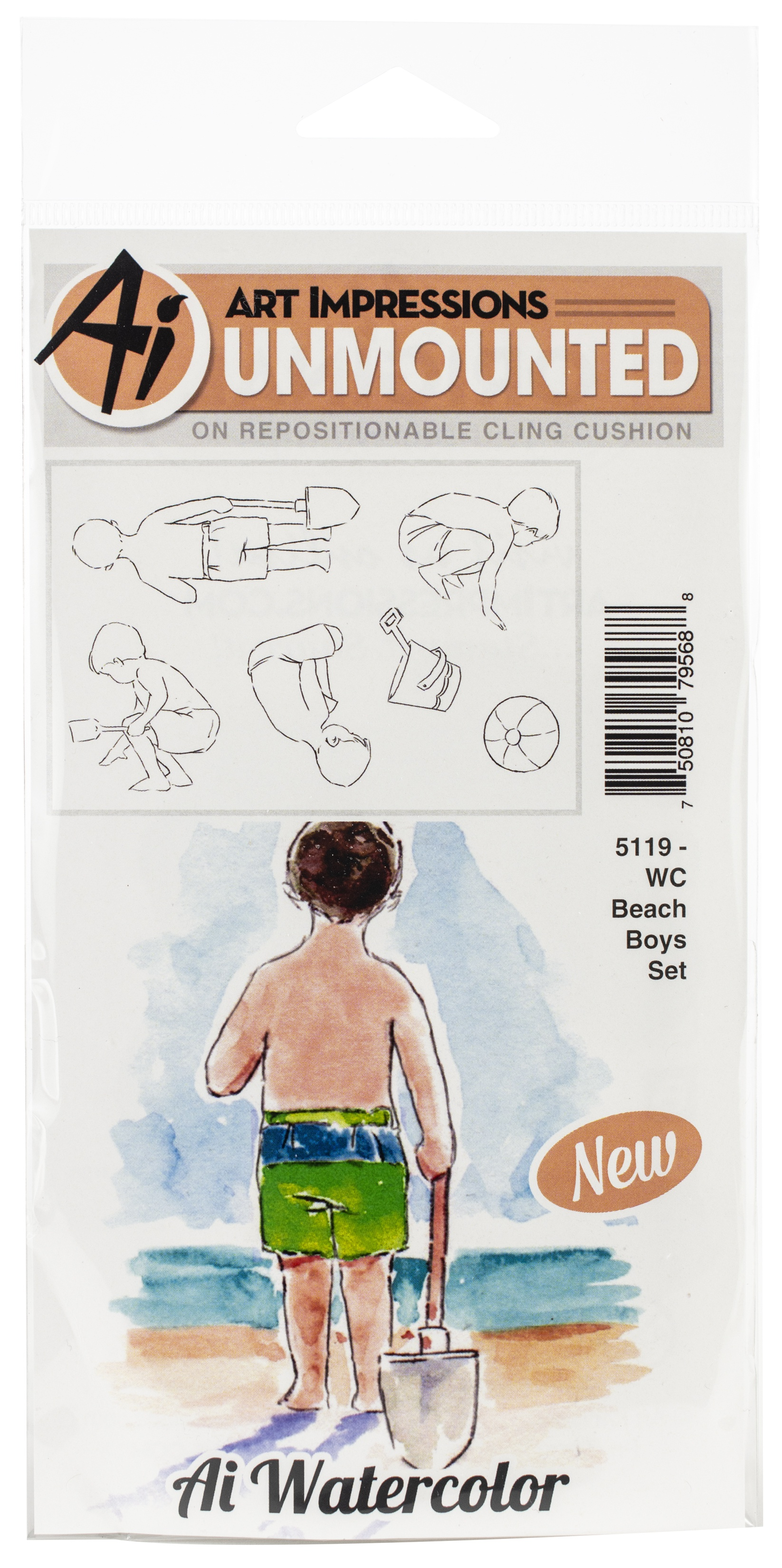 Art Impressions Watercolor Cling Rubber Stamps-Beach Boys