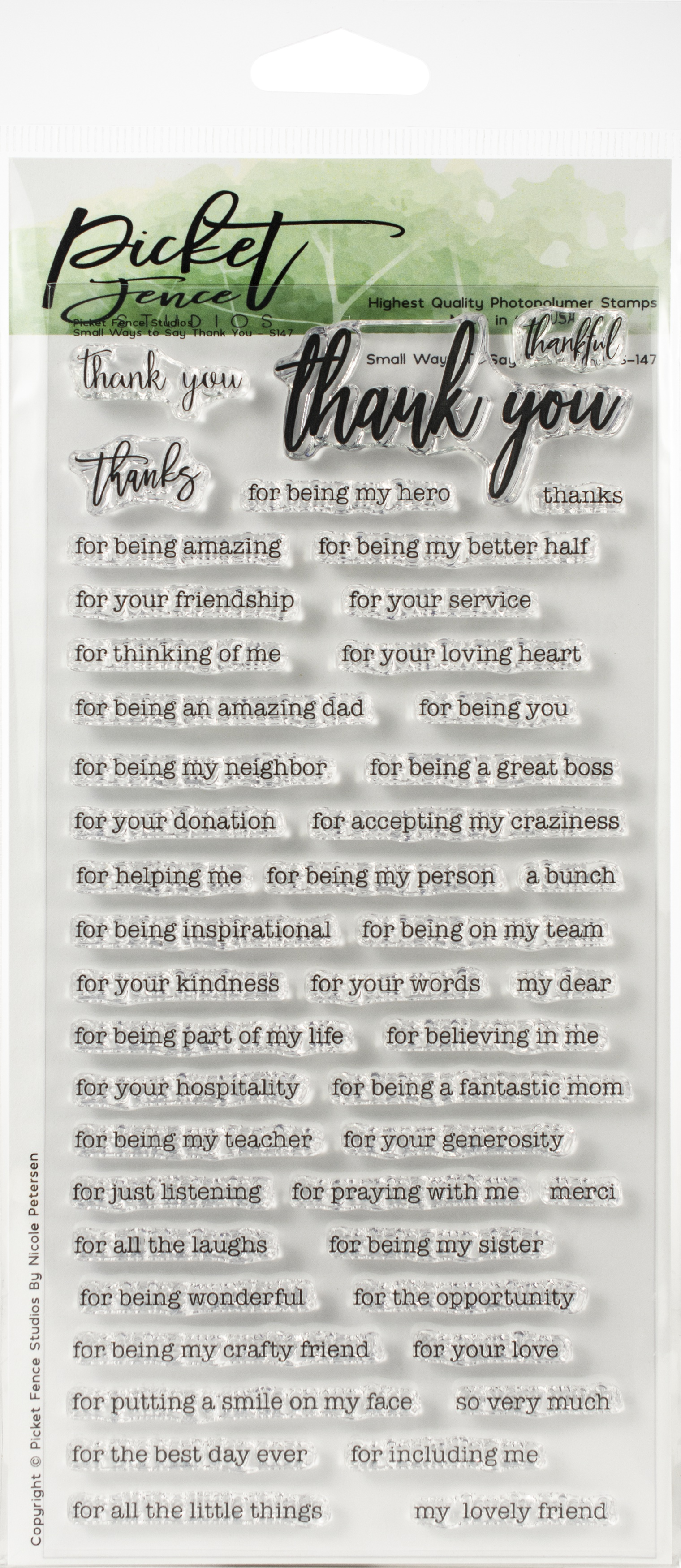 """Picket Fence Studios 4""""X8"""" Stamp Set-Small Ways To Say Thank"""