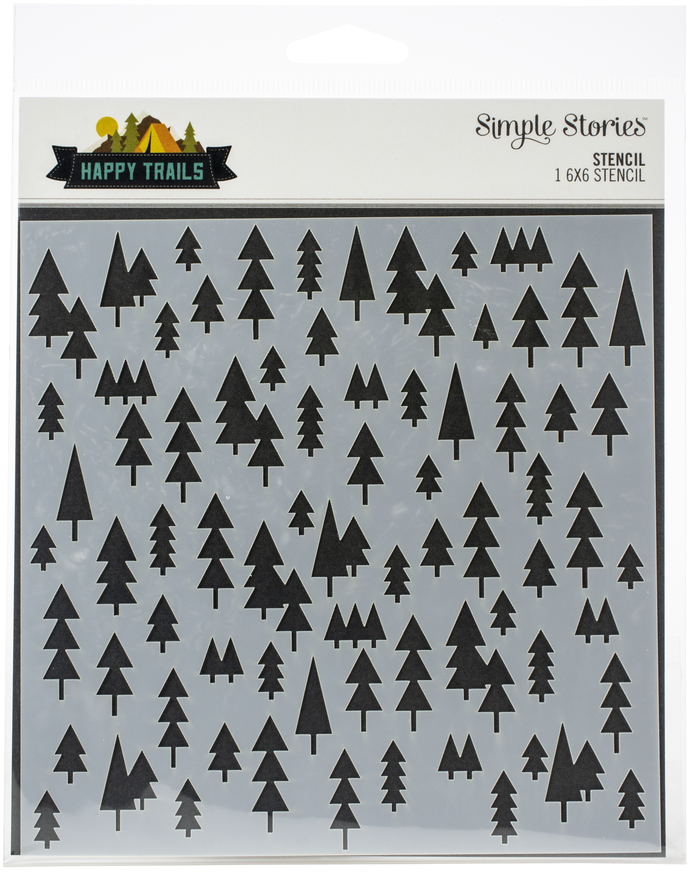 """Simple Stories Happy Trails Stencil 6/""""X6/"""" Trees 811958034517"""
