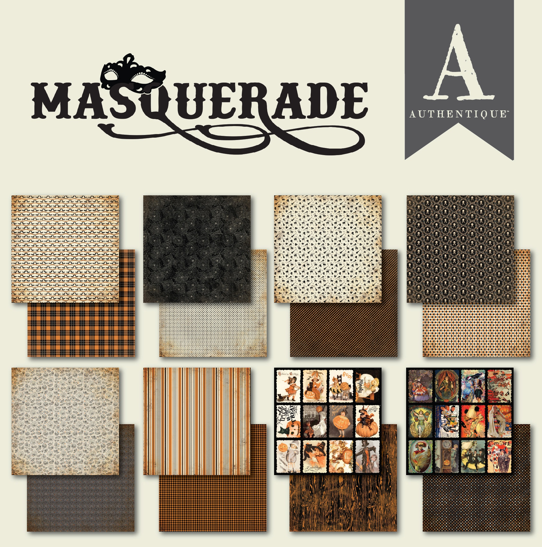 """Authentique Double-Sided Cardstock Pad 6/""""X6/"""" 24//Pkg-Masquerade"""