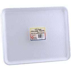Hygloss  Foam Collage Trays 9 inch x 11 inch 10 pack White H