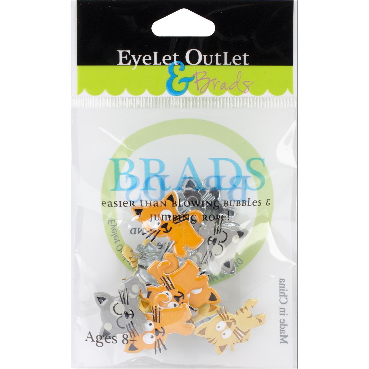 Eyelet-Outlet-Shape-Brads-12-Pkg-Kitties