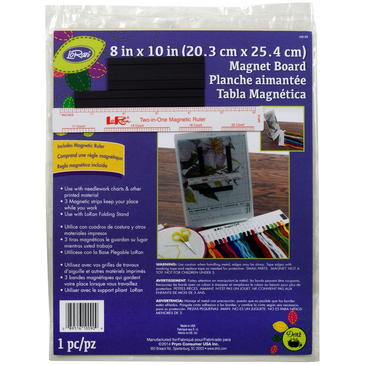"LoRan Magnet Board 8""X10"" & 6"" Ruler-"