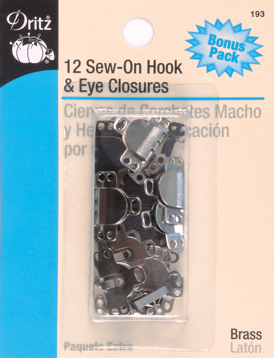 "Sew-On Hooks & Eyes 1/2"" 12/Pkg-Black & Nickel"