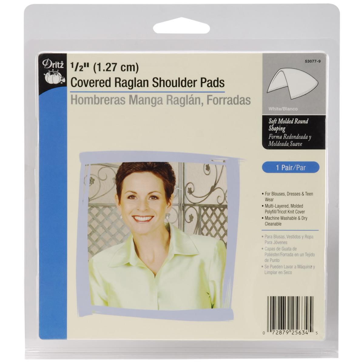 """1/2"""" Covered Raglan Shoulder Pads 2/Pkg-White"""