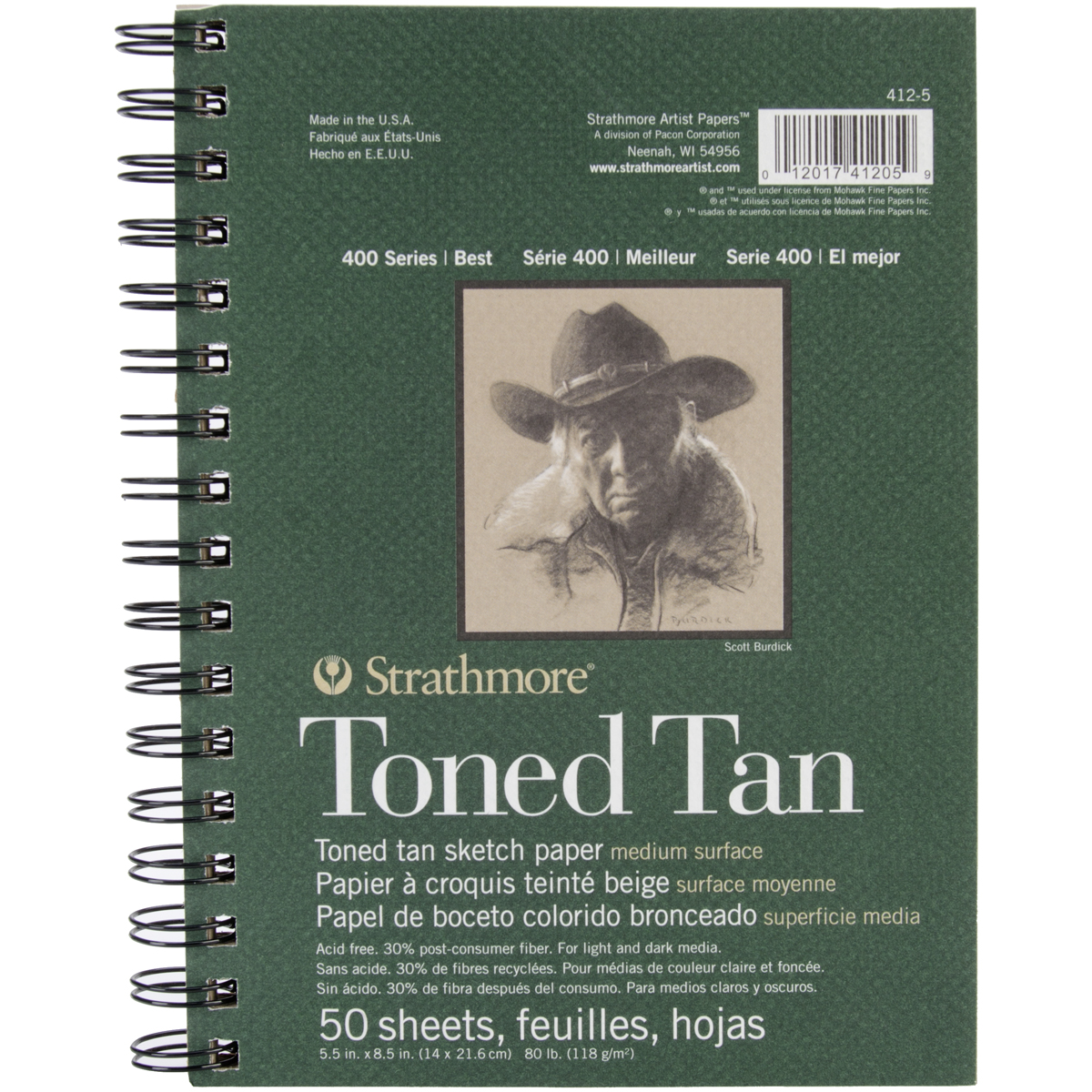 """Strathmore Toned Sketch Spiral Paper Pad 5.5""""X8.5""""-Tan 50 Sheets"""